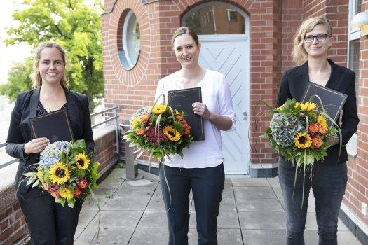 Dorothea-Erxleben-Awardees 2021, from left to right: Dr. Julia Pagel, Prof. Dr. Petra Bacher, Dr. Corinna Bang, © C. Kloodt / Exzellenzcluster PMI, Uni Kiel